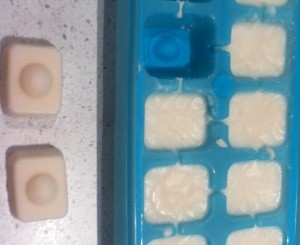 These may look like dishwash tabs but actually it's coconut. Liquify dessicated coconut in blender and pop in an ice tray for it to solidify.