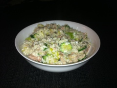 No-rice risotto for one - with can of tuna stirred through. Delicious.